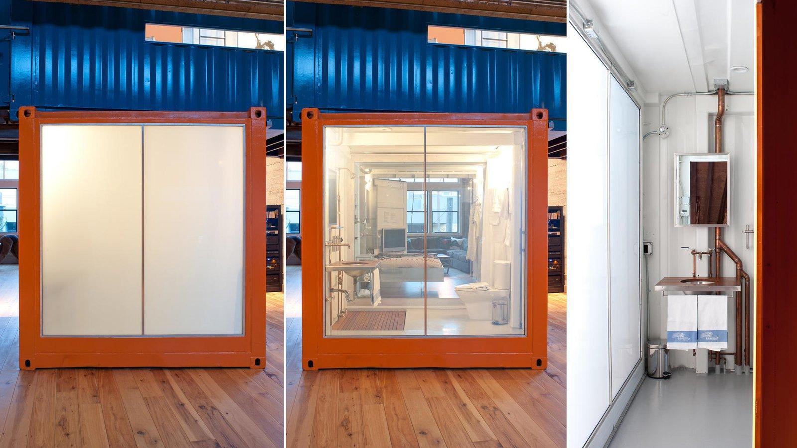 #lundberg #lundbergdesign #sanfrancisco #windows #glass #concrete #warehouse #interior #shippingcontainer #bathroom #shipping #container #hardwoodfloors #flooring  Wardell Sagan Residence by Lundberg Design