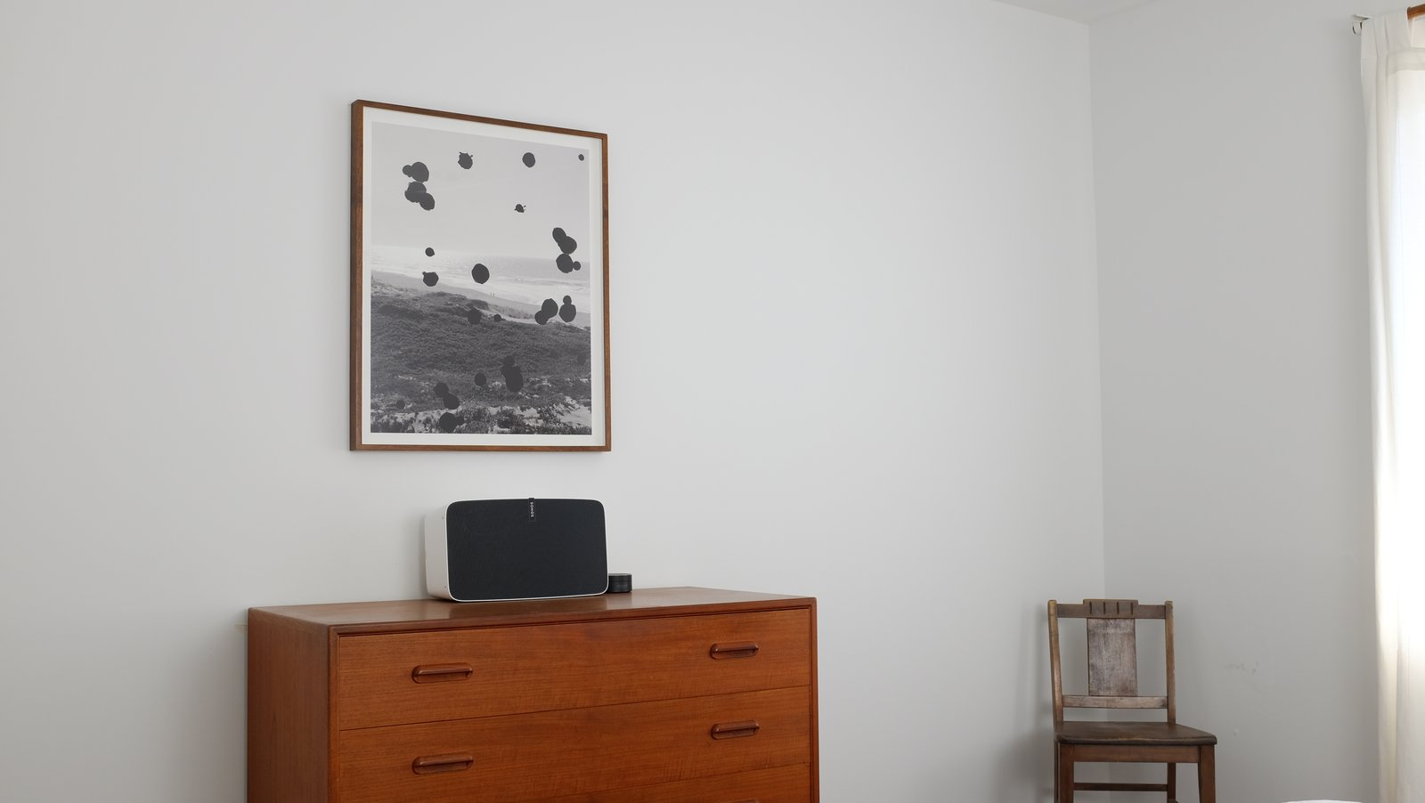 In the bedroom, a Sonos Play:5 is connected to Amazon Echo, enabling the residents to cycle through songs and podcasts using voice commands.  Photo 3 of 7 in The L.A. Home of Song Exploder's Hrishikesh Hirway Is Barely Larger  Than a Music Box