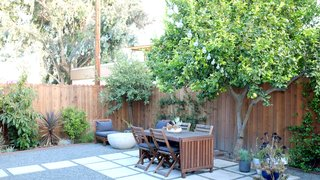 The interior was freshly renovated when the residents purchased the house in 2013; they redid the backyard themselves. The Bowl fire pit is by Potted.