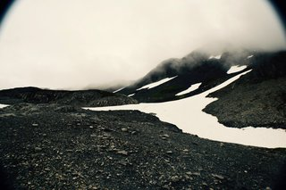 The foggy top of Exit Glacier, Alaska.