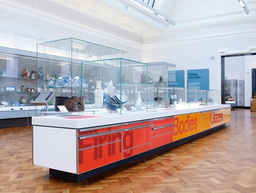 The V&A ceramics  commissioned Cartlidge Levene to work alongside Stanton Williams architects to design the first phase of the 14-gallery permanent display.  Way-Finding Systems