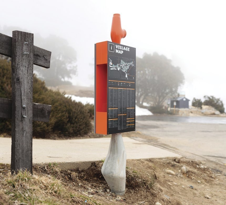 Falls Creek Resort  The system is extremely efficient, using a minimum number of elements for a range of sign types, while also minimizing the production energy requirements.  Way-Finding Systems