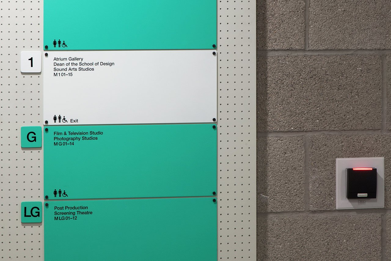 A Color coding system has also been introduced to signify the college's four main areas. Small naming alterations have been introduced to further simplify the system.  Way-Finding Systems