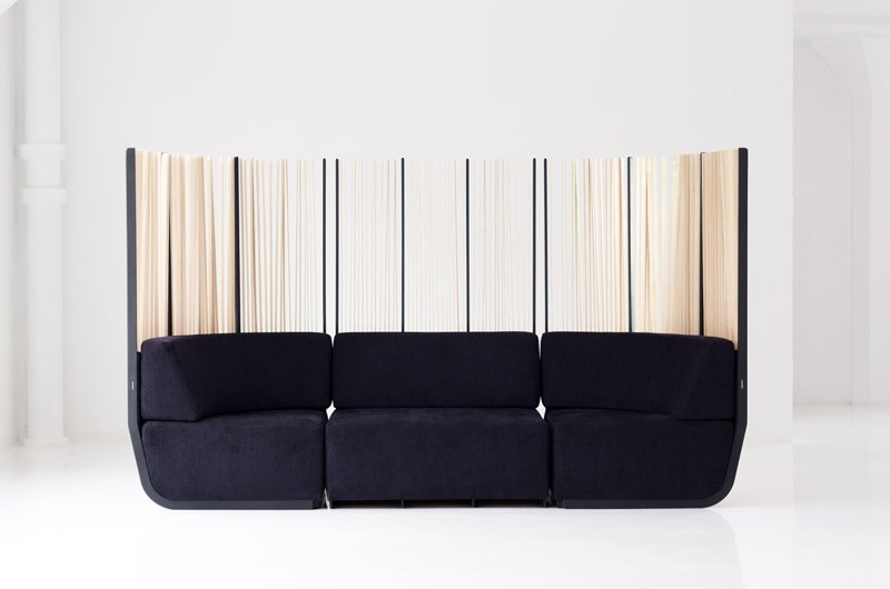 Hull Sofa is a sectional, allowing for infinite configurations. The slats are made from white ash, and can easily be replaced by sliding out the aluminum key.    #flexible #slats #tallgrass #semiprivate #quiet #security #sofa #design #furniture #exterior #interior #modern #functional #hull #knaufandbrown #canada  Hull Sofa