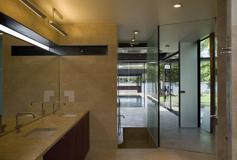 #PeninsulaResidence #lakeside #glass #steel #materials #modern #bathroom #mirror #windows #lighting #structure #interior #inside #indoors #LakeAustin #BercyChenStudio  The Peninsula Residence
