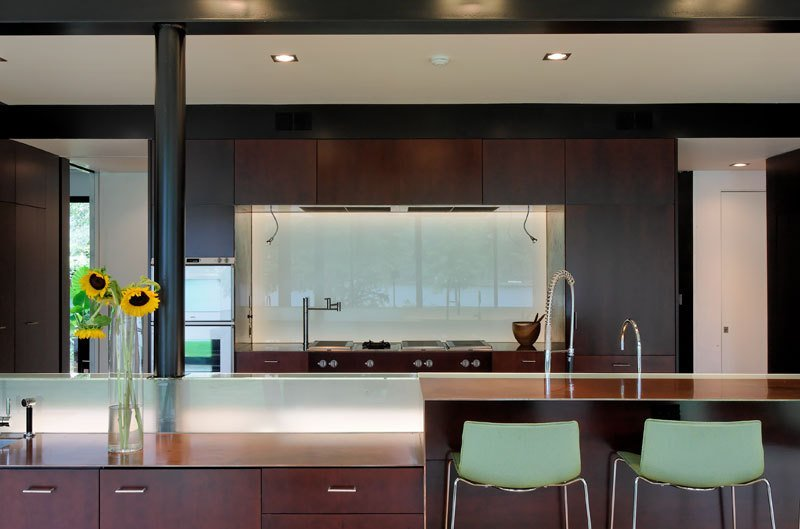 #PeninsulaResidence #lakeside #glass #steel #materials #modern #kitchen #seating #appliances #structure #interior #inside #indoors #LakeAustin #BercyChenStudio  The Peninsula Residence