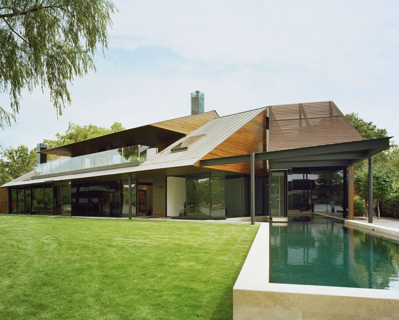 #PeninsulaResidence #lakeside #glass #steel #materials #modern #landscape #pool #structure #exterior #outside #outdoors #LakeAustin #BercyChenStudio  The Peninsula Residence