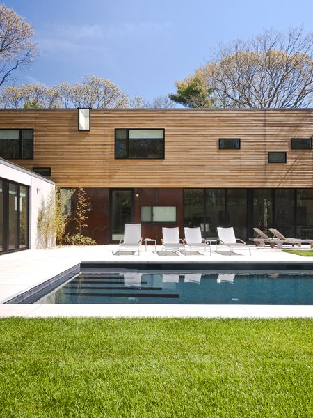 #LightboxWainscott #structure #form #stackedboxes #modern #exterior #outside #outdoors #landscape #seating #pool #JaredDellavalle #BernheimerArchitects
