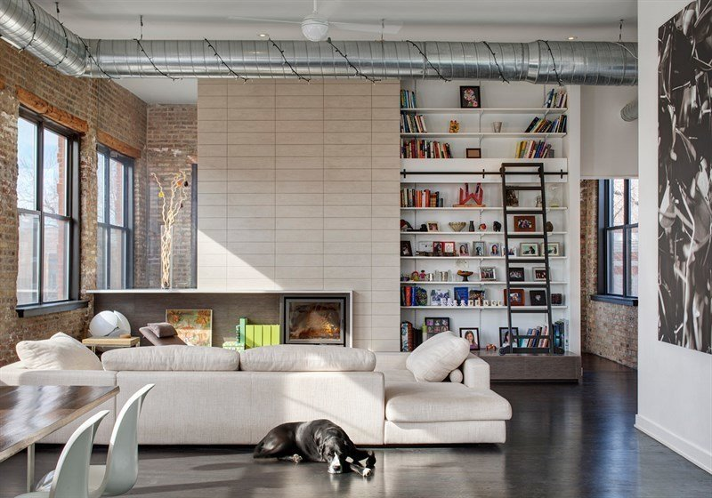 #1101NDamen #structure #form #modern #midcentury #interior #inside #indoors #livingroom #seating #fireplace #bookshelves #ladder #dog #2008 #BlenderArchitecture   30+ Modern Homes With Libraries by Matthew Keeshin