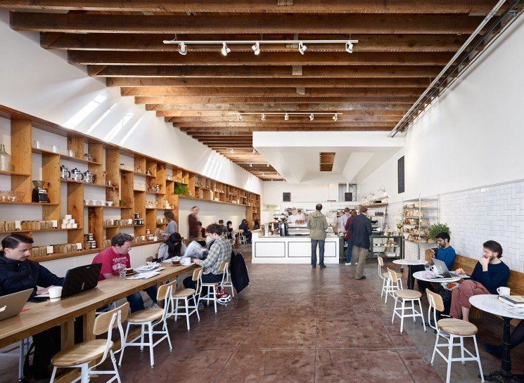 #TheMill #modern #dining #cafe #collaborative #bright #warm #wood #palette #welcoming #interior #inside #indoors #tables #chairs #counter #coffee #lighting #beams #2013 #SanFrancisco #BoorBridgesArchitecture  The Mill