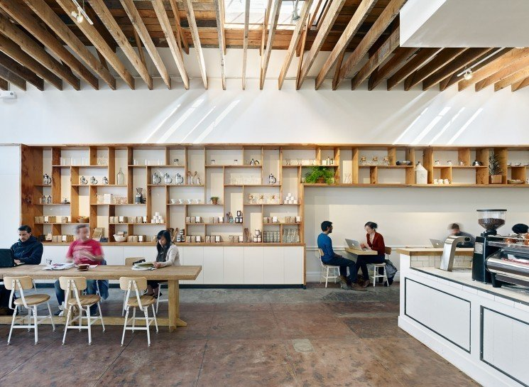 #TheMill #modern #dining #cafe #collaborative #bright #warm #wood #palette #welcoming #interior #inside #indoors #seatinf #table #shelves #storage #counter #beams #skylight #2013 #SanFrancisco #BoorBridgesArchitecture  The Mill