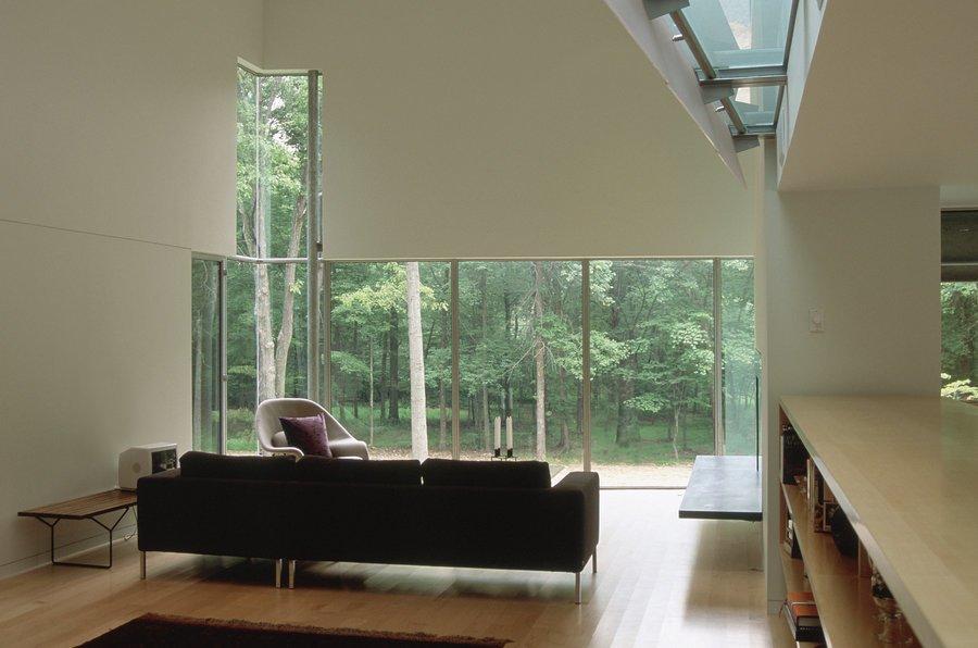 #inside #interior #indoor #livingroom #couch #chair #window #light #view #forest #Princeton #NewJersey #GarrisonArchitects  Iversen Kaplan Residence