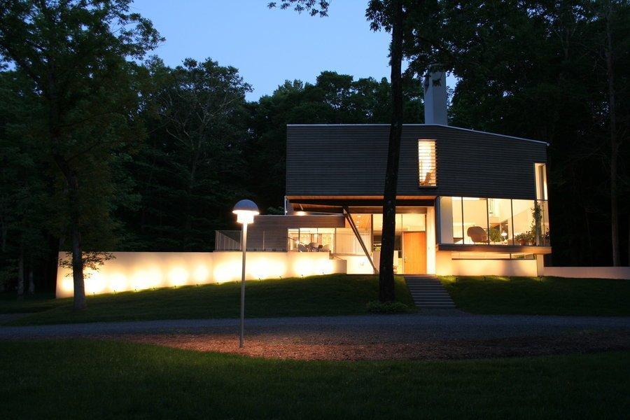 #outside #exterior #outdoor #landscape #light #night #view #green #trees #window #glass #Princeton #NewJersey #GarrisonArchitects  Iversen Kaplan Residence