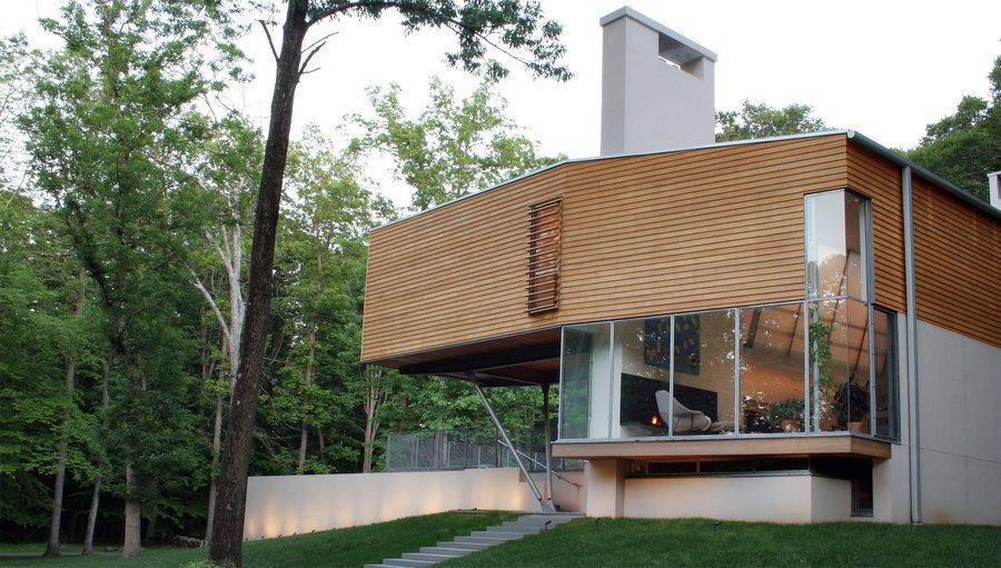 #outside #exterior #outdoor #modern #window #glass #eco #green #stairs #trees #Princeton #NewJersey #GarrisonArchitects  Iversen Kaplan Residence
