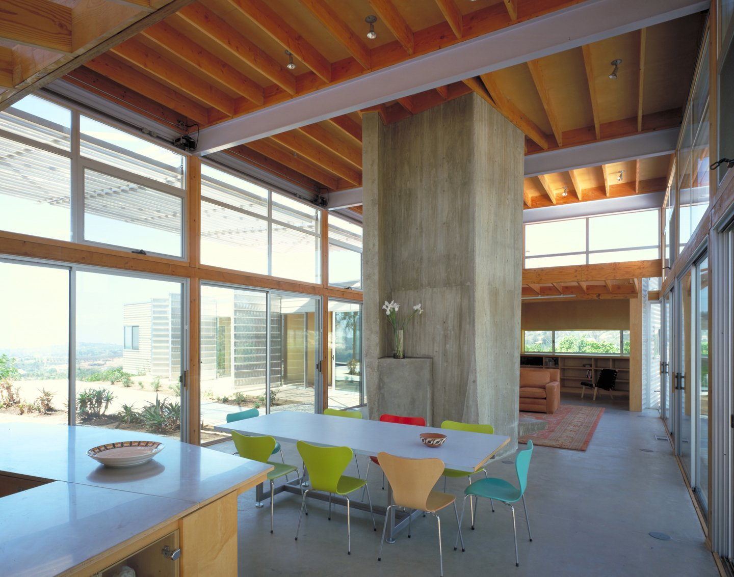 #interior #inside #indoor #diningroom #kitchen #concrete #color #table #chair #eco #green #sustainable #ValleyCenter #California #KevinDalyArchitects  Valley Center House