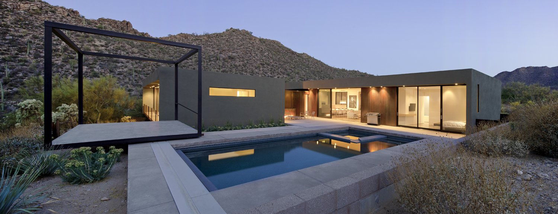 #levinresidence  #modern #desert #exterior #architecture #modern #backyard #design #lightingdesign #naturallight #stairs #pooldesign #landscape   dwell.com from Levin Residence
