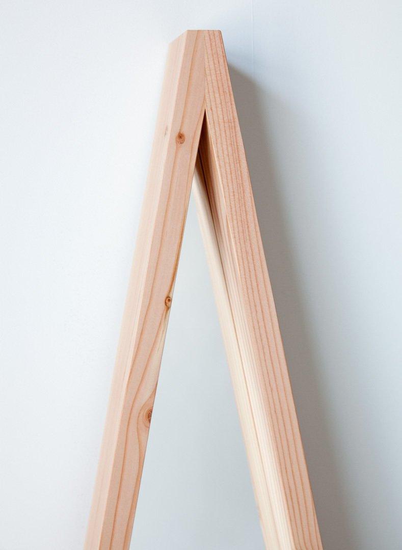 #movingmountains #aframe #mirror #furniture #interior #modern #design #triangle #douglasfir #color #orange #graphic #vibrant  A-Frame Mirror