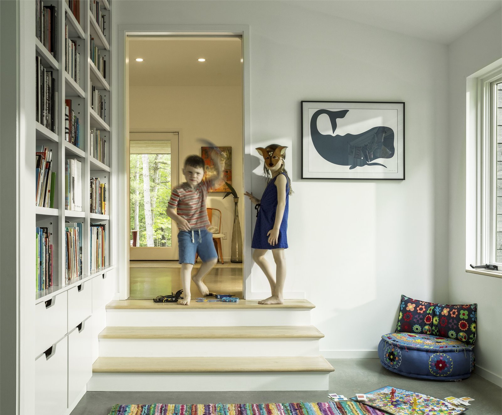 Kids Room, Playroom Room Type, Storage, and Bookcase Architect Elizabeth Herrmann's Knoll House project, Best Transitional category winner of 2017 Marvin Architects Challenge.    Knoll House