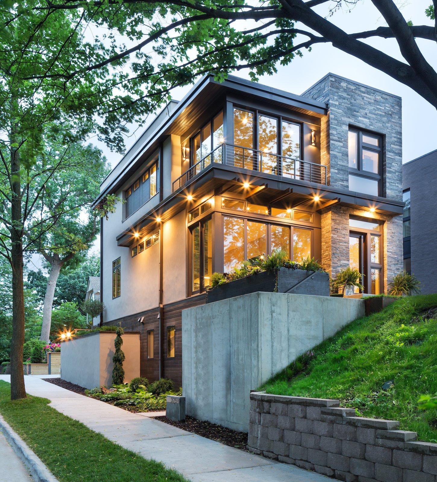 Exterior and House Building Type Builder John Kraemer & Sons' Lake Calhoun Organic Modern residence, winner of 2016 Integrity Red Diamond Achiever Award  Lake Calhoun Organic Modern