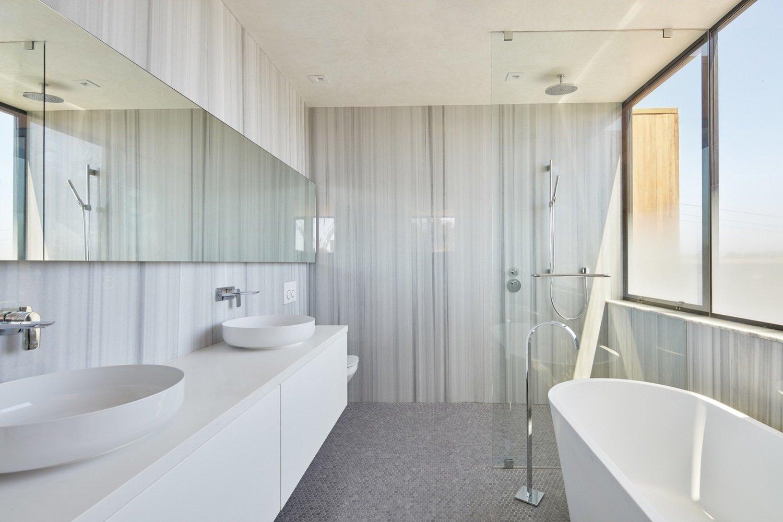 Bathroom Tagged: Bath Room, Engineered Quartz Counter, Ceramic Tile Floor, Vessel Sink, Freestanding Tub, Soaking Tub, and Open Shower.  Noe Valley House