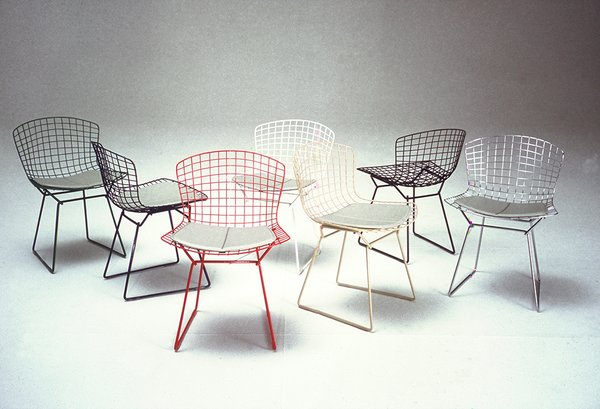 Bertoia Side Chairs shown in green, blue, white, red, white, yellow, black and chrome colorways. Image from the Knoll Archive.  Photo 5 of 7 in Knoll Inspiration: Reintroducing the Bertoia Two-Tone