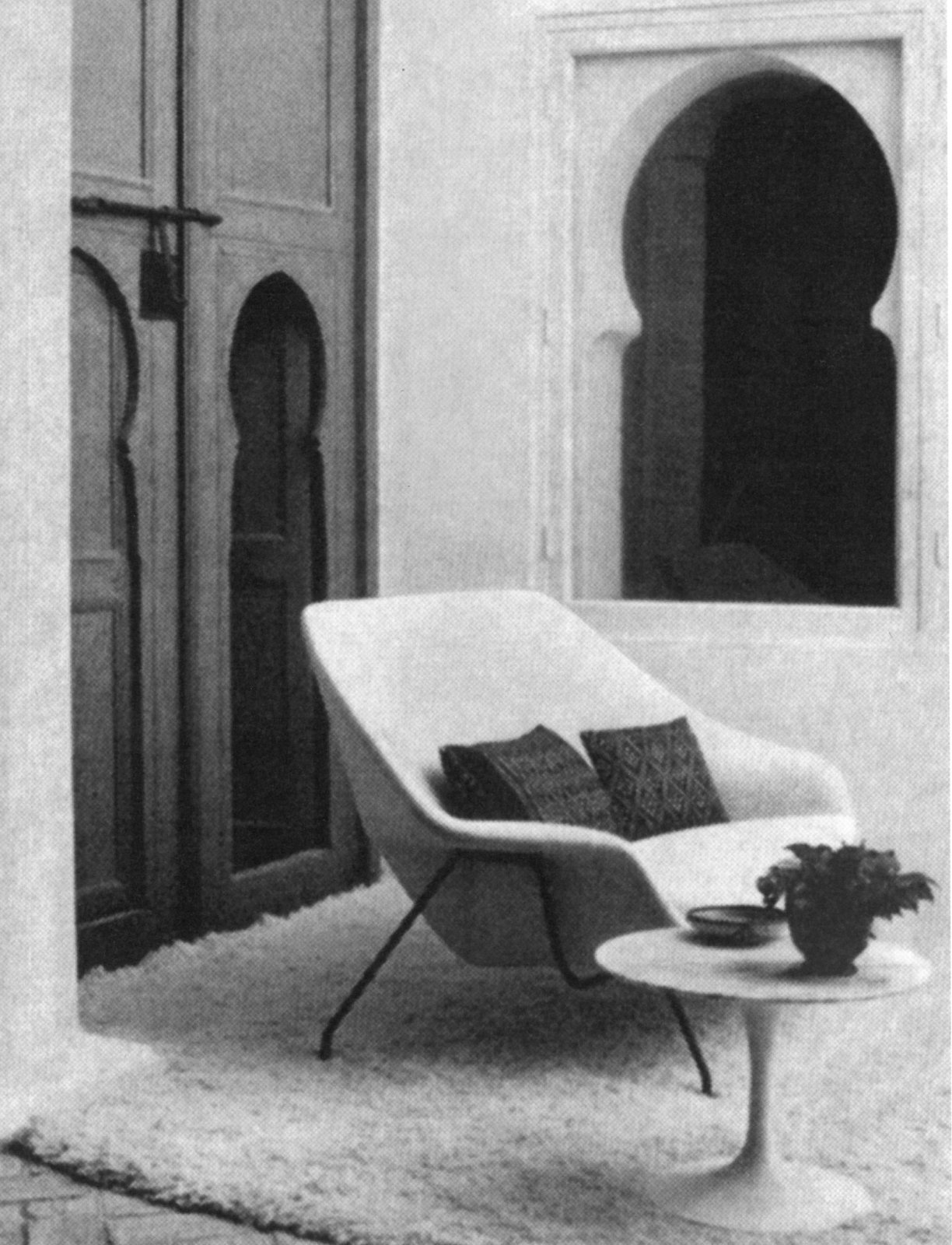 Womb Settee at Yves Vidal and Charles Sévigny's home in Tangier, Morocco. Photograph from the Knoll Archive.  Timeless Iconic Design from Knoll Inspiration: Reintroducing the Womb Settee