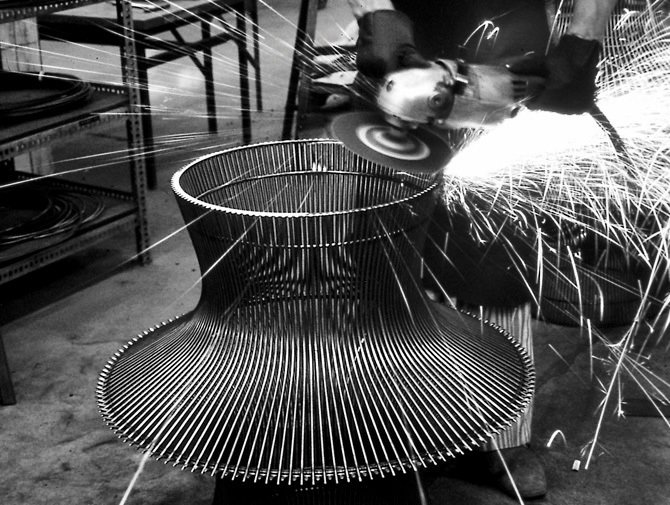Production process behind the Platner Coffee Table. Photograph from the Knoll Archives.  Photo 3 of 7 in Knoll Inspiration: Introducing Platner Gold