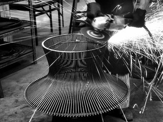 Production process behind the Platner Coffee Table. Photograph from the Knoll Archives.