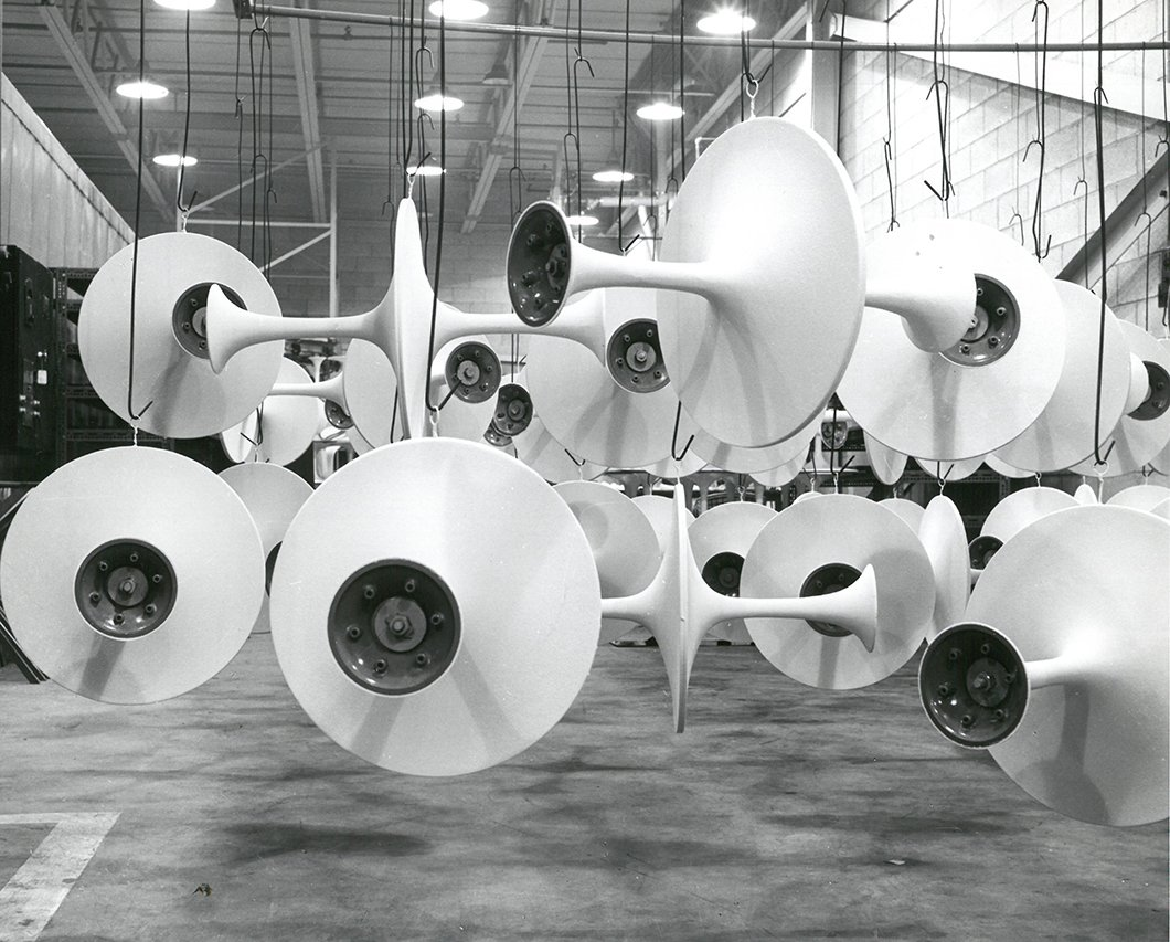Pedestal bases awaiting marble tops for assembly, 1963. Photograph from the Knoll Archive.  Photo 5 of 14 in Quarry to Table: A Story in Stone