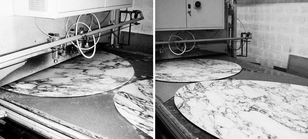Marble tops being coated to ensure a lasting finish, 2013. Photography by Knoll.  Photo 12 of 14 in Quarry to Table: A Story in Stone