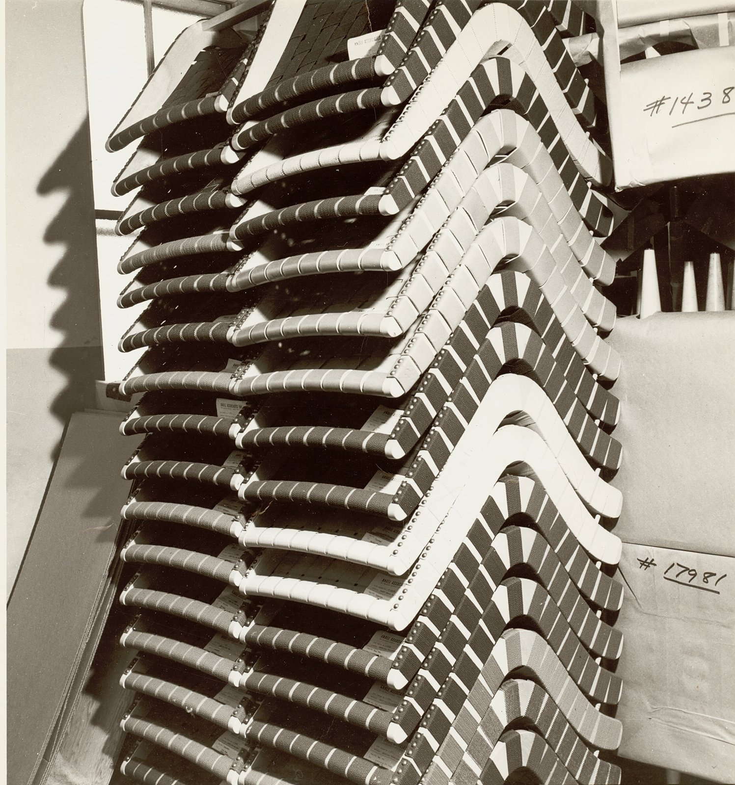 Stacks of Jens Risom's 650 Line Lounge Chairs. Image from the Knoll Archive.  Photo 6 of 10 in Knoll Inspiration: The Answer is Risom
