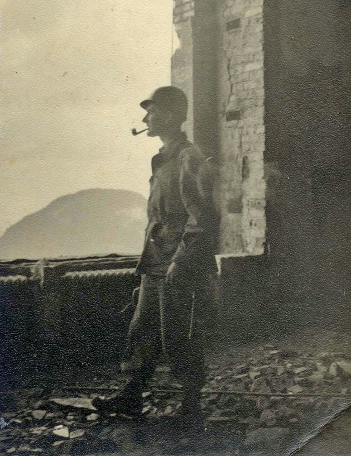Jens Risom as a soldier during WWII, 1943. Image courtesy of Jens Risom.  Photo 8 of 10 in Knoll Inspiration: The Answer is Risom