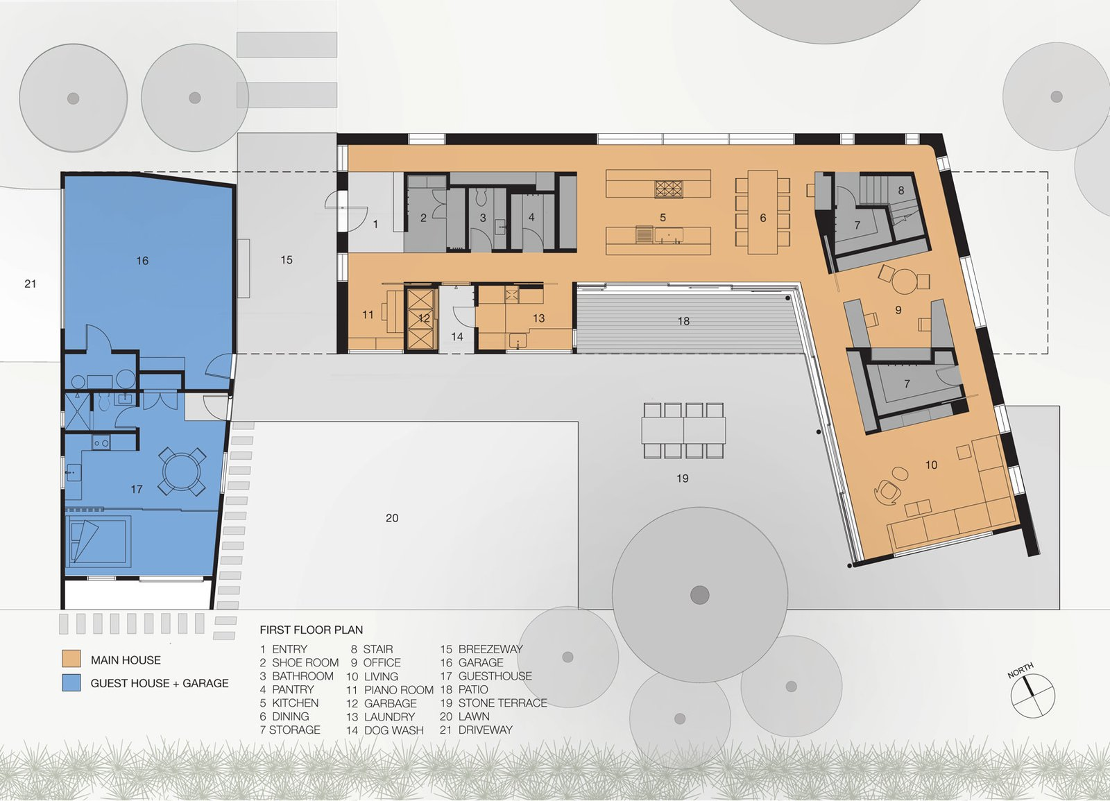 first floor plan  Palo Alto Residence by CCS ARCHITECTURE