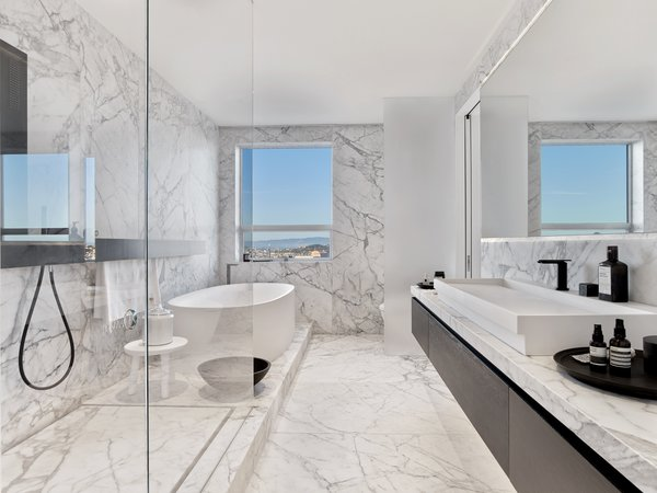 Bath, Marble, Vessel, Freestanding, Marble, Soaking, Enclosed, Corner, and Marble Master bath  Best Bath Freestanding Vessel Marble Photos from Glen Park Residence