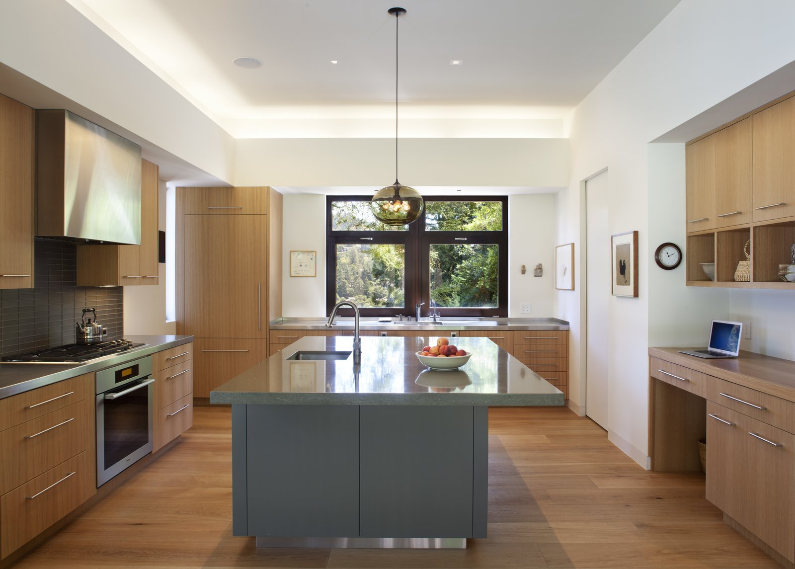 Kitchen, Refrigerator, Range, Wood, Concrete, Range Hood, Pendant, Ceiling, Drop In, and Light Hardwood Kitchen  Best Kitchen Light Hardwood Drop In Range Photos from Mt. Tam House