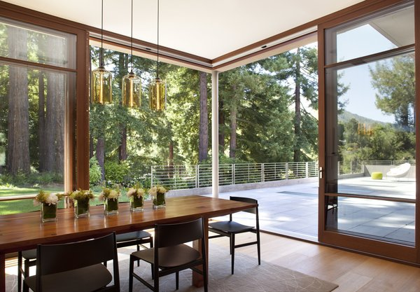 Dining room with intimate connections to groves of redwood trees