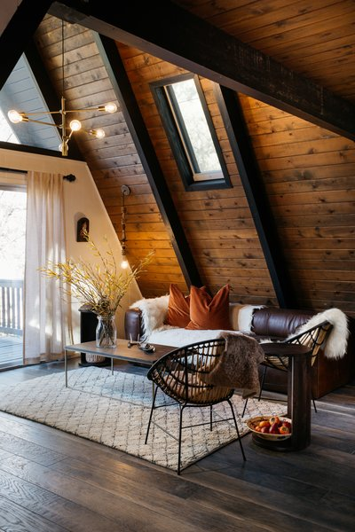 A dated property in the mountains of Big Bear, California, is upgraded to highlight its stunning A-frame design.