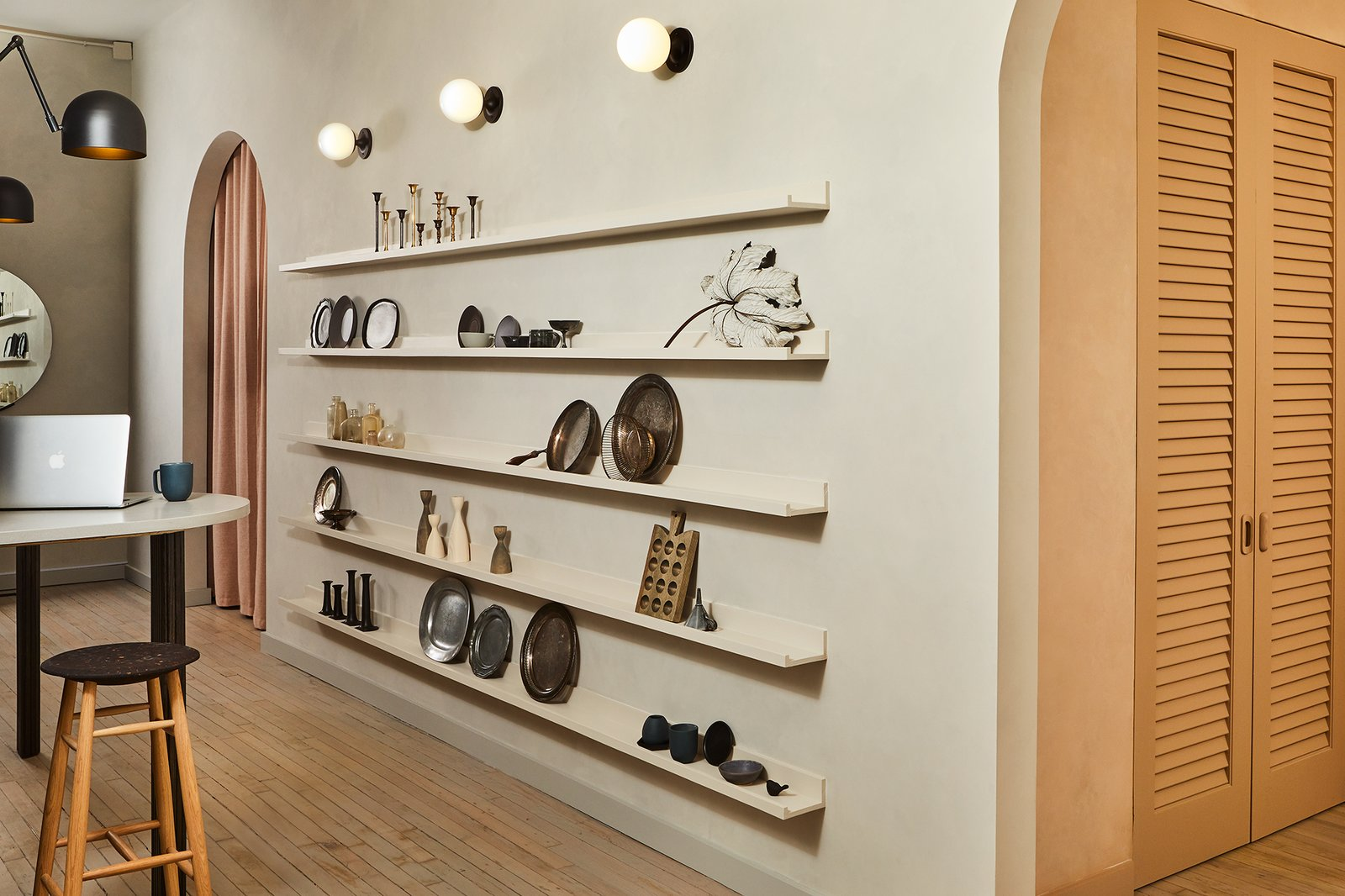 Storage Room and Shelves Storage Type Open shelving is a staple of Food52, and here, it can be a versatile place to display tools and artwork.  Photo 4 of 5 in Calling All Food52 Fans: The Brand's New Annex Is Its Best Look Yet