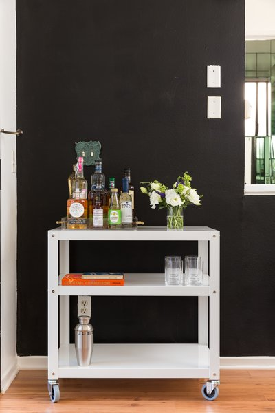 Many of the items in the home can be moved around easily, including this bar cart. Many of the customers who frequent Batch are between 20 and 40 years old, Meyer says, so much of the property's details appeal to that demographic.