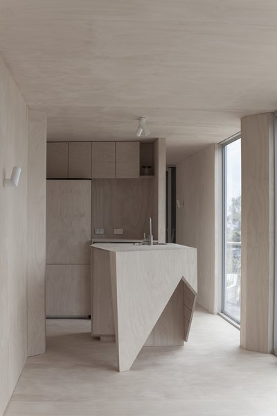 The marine plywood feature is especially striking in the compact kitchen and its island's geometric design. The cabinetry was built by Z Constructions.