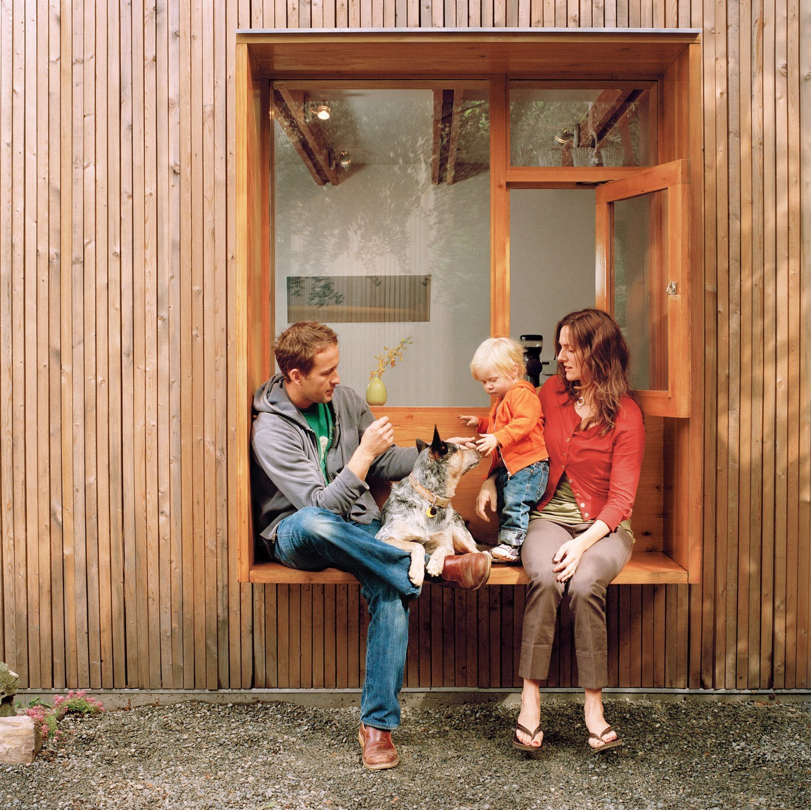 window nook with cattle dog