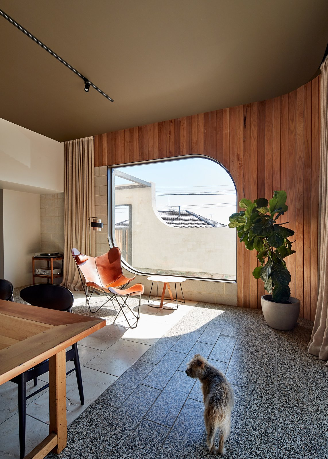 Living Room, Chair, Concrete Floor, Table, Track Lighting, Ottomans, Floor Lighting, and End Tables Viridian '  Best Photos from A Melbourne Victorian Is Lovingly Renovated to Extend its Life Story