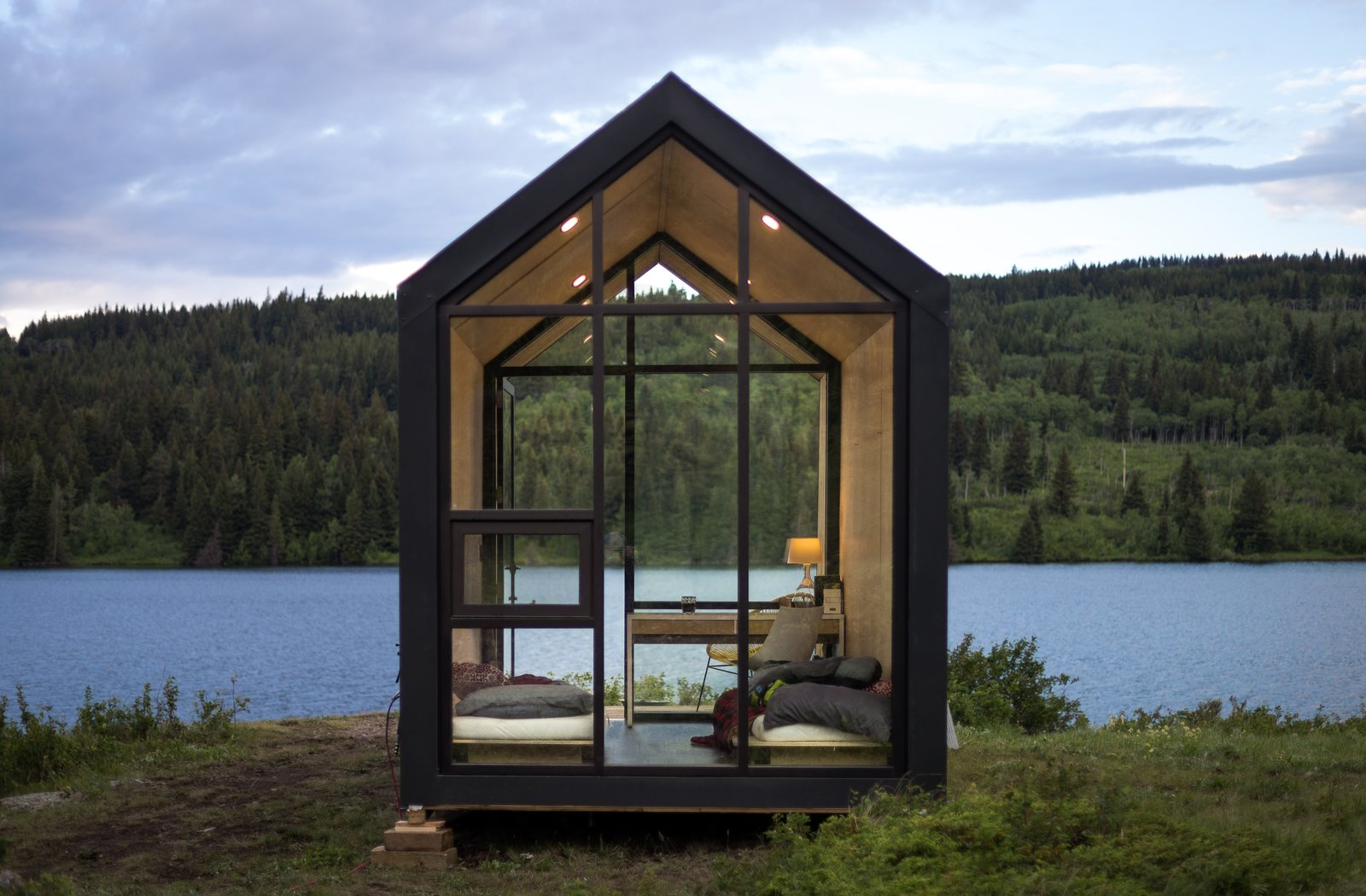 Exterior, Prefab Building Type, Metal Roof Material, Wood Siding Material, and Gable RoofLine Although the team states that a Mono can be placed anywhere in North America without a permit—like a backyard—a place with a view is preferred.     Photos from This Sleek Prefab Can be Built in Just Six Weeks for Under $22K