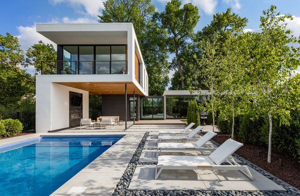 The 4,500-square-foot property is made up of three pavilions. The first pavilion is the garage, the second is for the living areas, and the third is for the master suite.