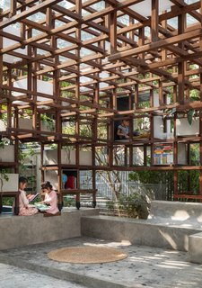 The geometric structure provides shade and various outposts to read—it also can act as a jungle gym.