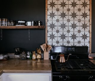 If you find a particular tile with black accents, do like Tim and Merrill Melideo and work with the shade throughout your kitchen.
