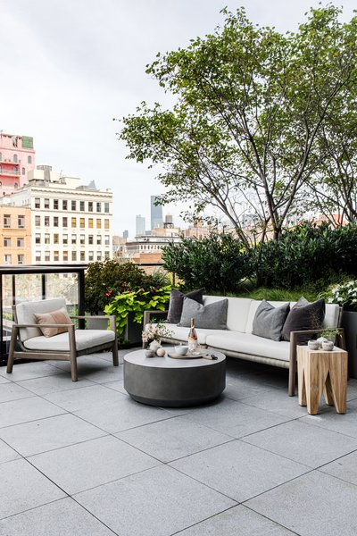 "The 400-square-foot outdoor space, a rarity in New York City, was designed to feel like a California oasis. ""It's the perfect spot to kick back and entertain,"" Becky says."