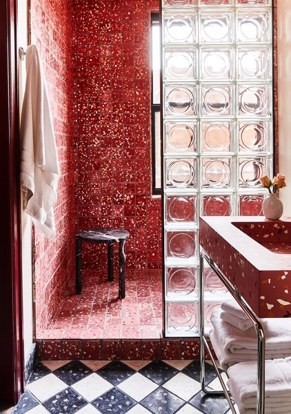 """If you're looking to recreate this look in a home bathroom, Cooper thinks its best for small spaces. """"Keep it contained if you are living with it every day,"""" he says. """"It's fun to go all out in a small powder room or secondary bathroom you don't use all the time. In your primary bathroom, you will likely get sick of it if you push it too far."""""""