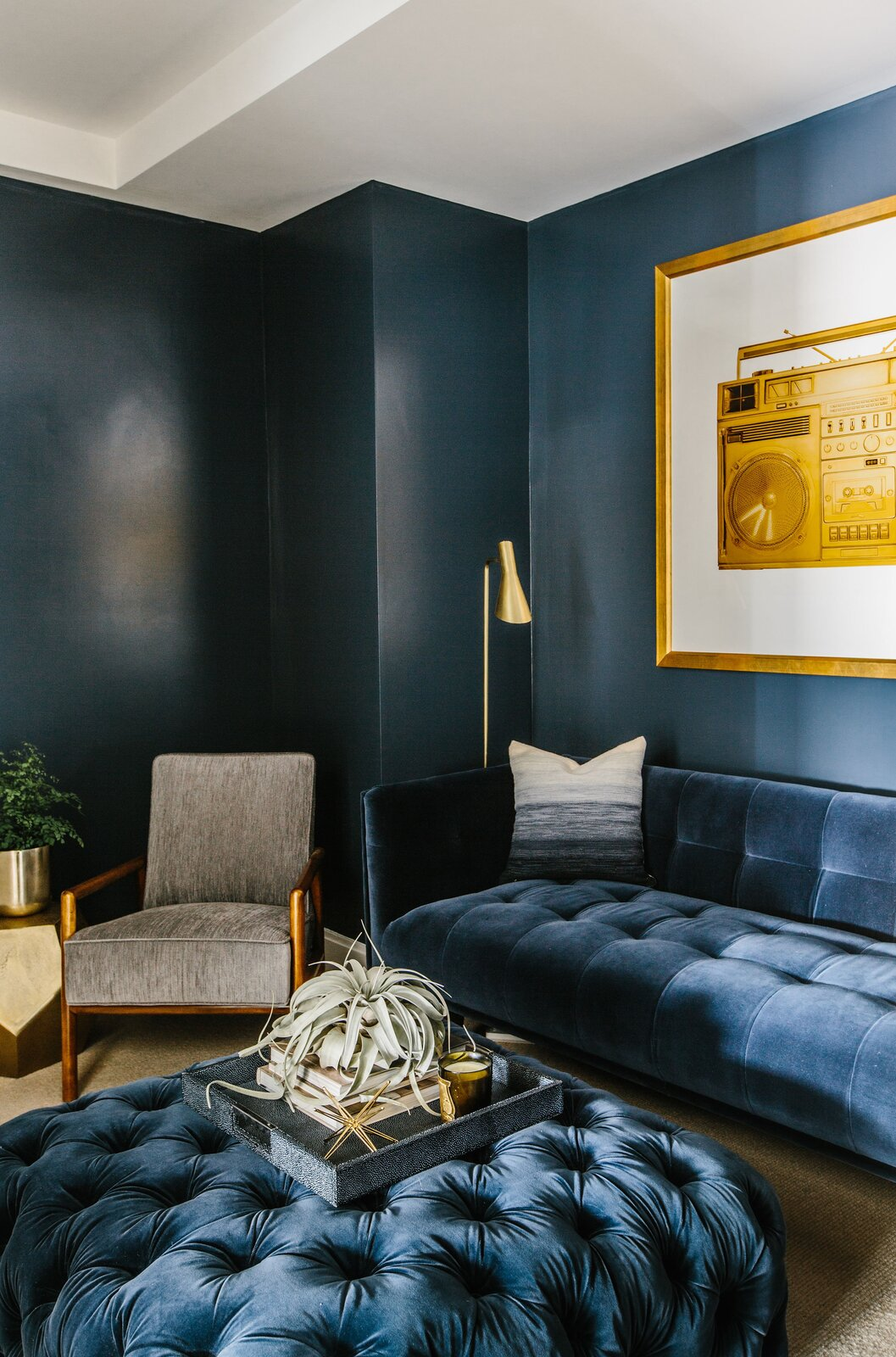 Glassman/Soloman Project by Margaret Costello den with blue walls