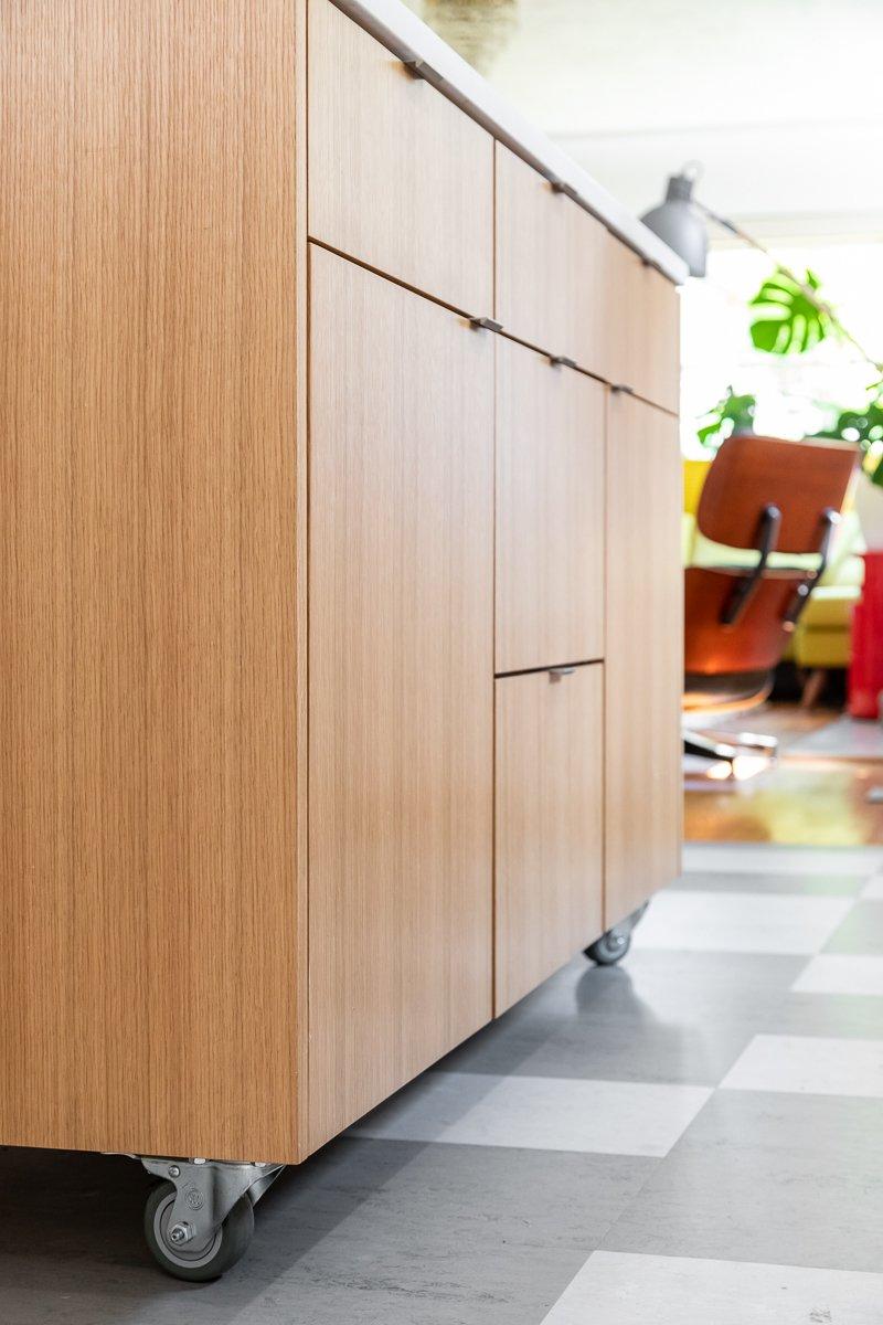Kitchen, Wood Cabinet, Engineered Quartz Counter, and Linoleum Floor Kitchen island  Ballard Residence